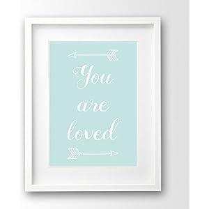 Babyzimmer Bild ungerahmt, türkis mint, you are loved Deko Pfeile