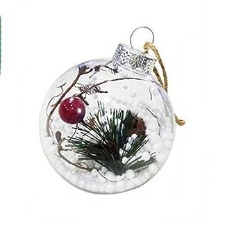 Kentop Adorno para árbol de Navidad Diseño de Bolas Transparentes, plástico,9 * 8CM