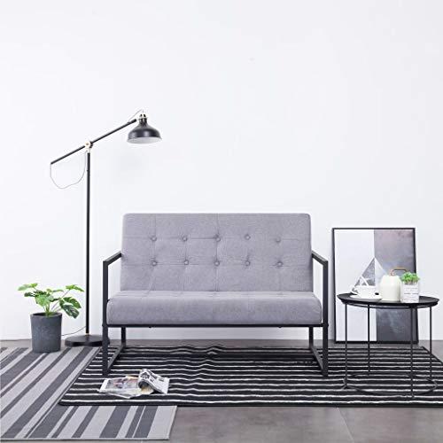 Tidyard Sofá de Dos plazas con reposabrazos Sofá de Salon Diseño Moderno Decoración de Hogar o Oficina Acero y Tela Gris Claro
