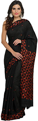 Exotic India Phulkari Saree from Punjab with Hand-Embroidered Flowers - Color Black...