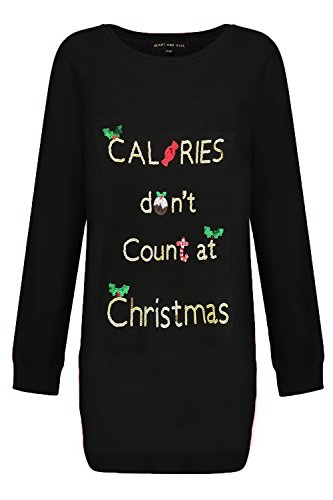 (Heart and Seele Damen Weihnachten Kalorien All I Want oder Prosecco Tunika Pullover - Weihnachten Kalorien - schwarz, 38)