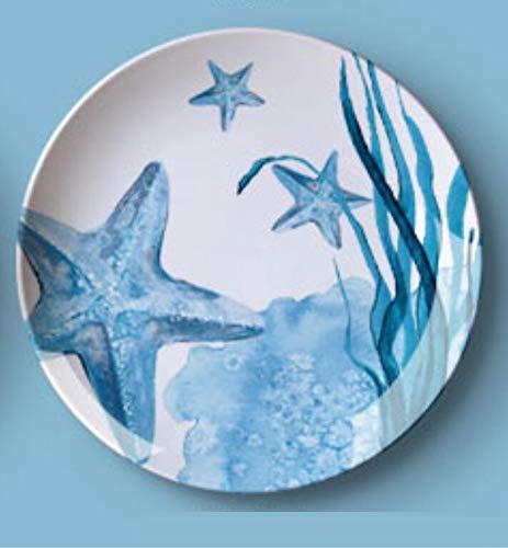 shovv Piatto Appendere Parete Decorativo Muro Appeso A Parete in Ceramica Marina Appeso A Parete Sfondo Ristorante Parete Decorazione della Casa Blu 8 Pollici