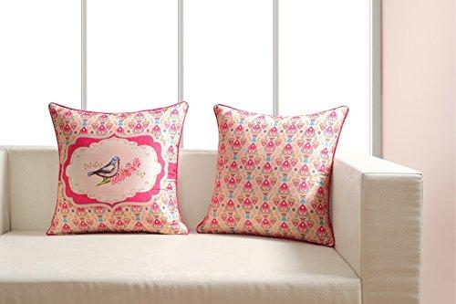 Digital bedruckt 100% Baumwolle 240gsm 18x 18Kissen Set von 2, Vögel und Blumen - Euro-square-kissen-set