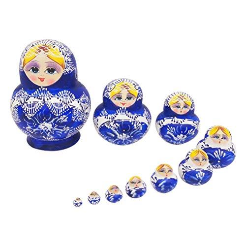 Matroschka Puppe Kostüm - JJSFJH Russische Puppe Wintermädchen mit Dicker Baumwolljacke Klassisches handgemachtes Holzspielzeug Geschenkpackung mit 10 Stück