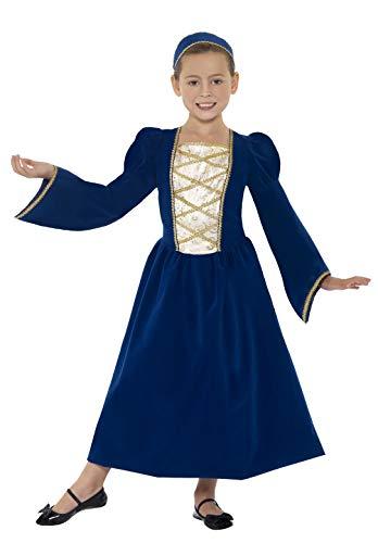 Kostüm Tudor Mädchen - Smiffys Kinder Tudor Prinzessin Mädchen Kostüm, Kleid und Haarreif, Größe: M, 44013