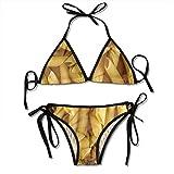 Women Sexy Swimwear Set Close Up of Uncooked Macaroni Pasta Tie Side Padding Bathing Swimsuit
