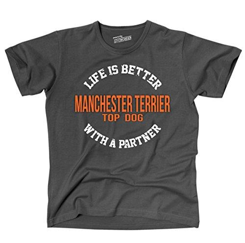 Siviwonder Unisex T-Shirt MANCHESTER TERRIER - LIFE IS BETTER PARTNER Hunde Dark Grey