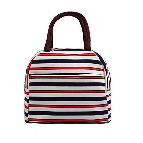 KonJin Isolierte Lunch Tasche Cool Bag für Lunch Boxes Gestreiftes Wasserdichtes Gewebe Faltbare Picknick-Handtasche für Frauen, Erwachsene, Studenten und Kinder