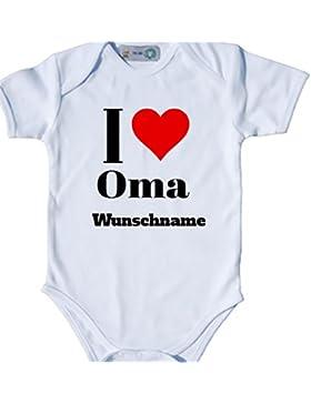 Baby Body Bio Bodysuit Shortsleeve I Love (Herz) Oma & Wunschname Strampler