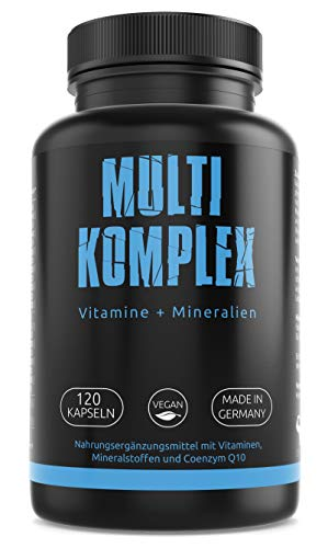 GYM-NUTRITION® — Multi Komplex Multimineral-Tabletten – Vitamin-Tabletten plus Spuren-Elemente & Q10 – Vitamin-Präparat mit Mineralien — vegan, hochdosiert, Made in Germany — 120 Kapseln EINWEG