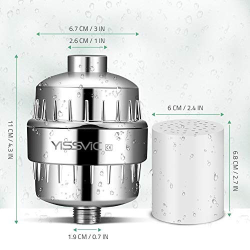YISSVIC 15 Stage Shower Filter Tap Filter with 2 Replacement Cartridges for Hard Water Removes Chlorine Metals for All Hand Held Showers (Silver)
