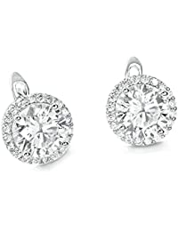 Gorgeous Sterling Silver 8mm Brilliant CZ Hoop Earrings - Silver Earrings Hoops