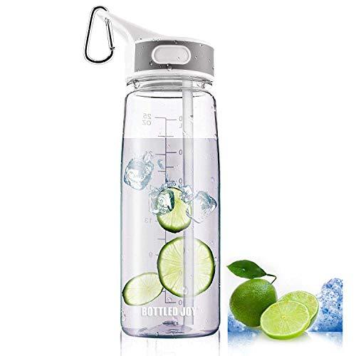 BOTTLED JOY Sport-Trinkflasche mit Strohhalm und Griff in Flaschen, 100% BPA-frei Staubdicht Gap Wasser Flaschen für Outdoor Wandern Camping, 800 ml, (Clear) (Sport-flasche Mit Griff)