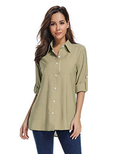 Damen schnelltrocknend Sonnenschutz UV-Schutz Cabriolet Langarm Shirts für Wandern Camping Angeln Segeln - - XX-Large -