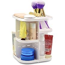 Becoyou Organizador de maquillaje multifunción Capacidad grande DIY 360 grados de rotación de acrílico caja de almacenamiento de cosméticos ajustables para el tóner cremas maquillaje pinceles lápices de labios