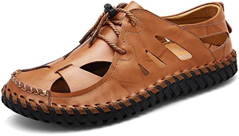 Herren Leder Closed Toe Outdoor Sandalen Trekking Schuhe Bequeme Schuhe StrandschuheClosed Toe Sandalen Trekking Strandschuhe Brown 44