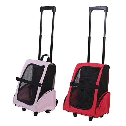 Estink- Carrello per Animali Domestici, trasportino Portatile per Cani e Gatti, con Manico telescopico, Colore: Rosa o Rosso