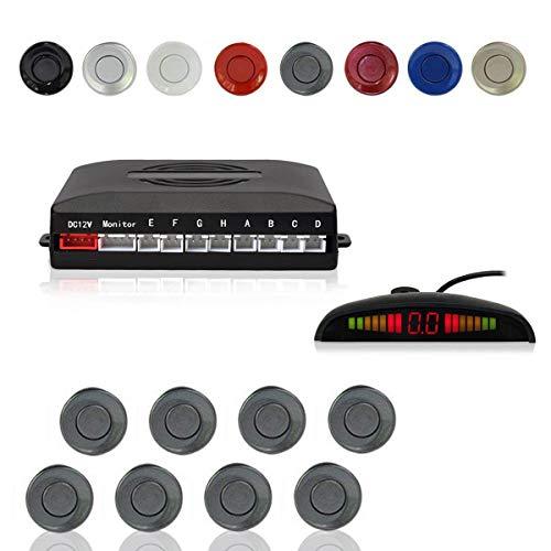CoCar Auto Rückfahrwarner Einparkhilfe 8 Sensoren Einparkassistent Einparksystem PDC + LED Anzeigen + Akustische Warnung - Grau