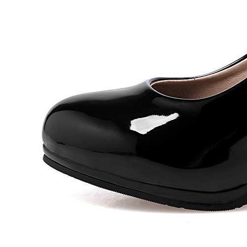 VogueZone009 Femme Couleur Unie Verni à Talon Haut Tire Rond Chaussures Légeres Noir