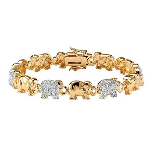 Pulsera caravana de elefantes - Bañada en oro amarillo de 14k -...