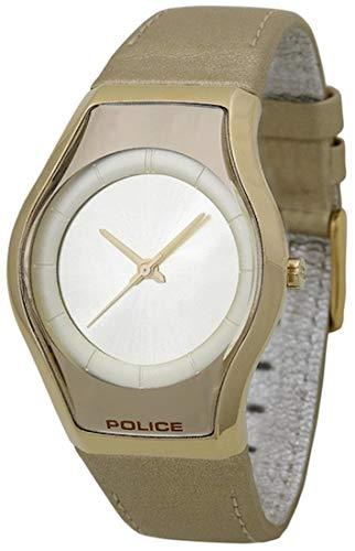 POLICE 12778MSG/06 - Reloj para mujeres, correa de cuero color dorado