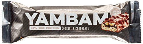 Protein Mahlzeit Bar (Body Attack YAMBAM Protein Bar, Cookie 'n Chocolate, 15x 80g, 1er Pack (1x 1.2kg))