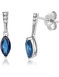 Miore Damen-Ohrhänger 9 Karat (375) Weißgold Saphir blau SA9005E