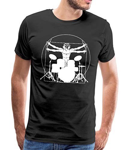Spreadshirt Vitruvianischer Schlagzeuger Drummer Männer Premium T-Shirt, M, Schwarz
