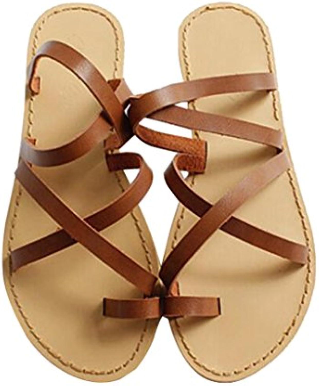 Sandalia Slip-On De Gladiador para Mujer Zapato Sandalias De Talón De Sandalias con Punta Romana En Verano para...