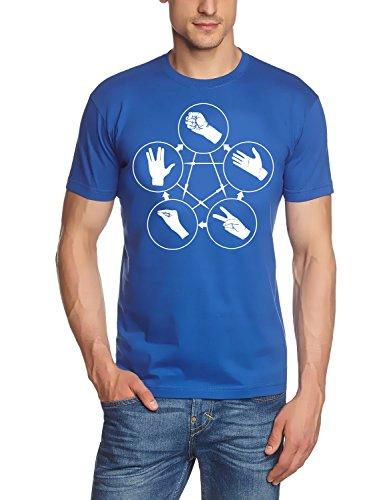 Coole-Fun-T-Shirts - T-shirt Big Bang Theory - Stein Schere Papier Echse Spock, T-shirt da uomo blau-weiss