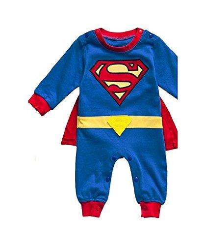 DS (Gr. 68-86) NIEDLICHER SUPERMAN STRAMPLER *Gr. 86* BABY OVERALL (Superman Baby Kostüm)