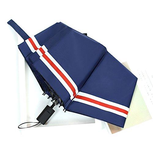 MinegRong Sun Umbrella_Small Fresh Sun Umbrella Sunscreen Umbrella Black Lily,Jiuhe Navy Strip White -