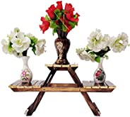 Vintage Wooden Multipurpose Folding Rack/Plant Stand with 3 Decks/Living Room Side Stand/Wooden Stool/Flower P