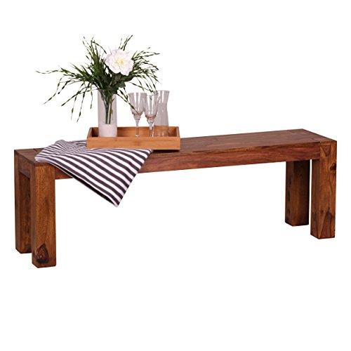 WOHNLING Esszimmer Sitzbank Massiv-Holz Sheesham 140 x 45 x 35 cm Design Holz-Bank Natur-Produkt Küchenbank Landhaus-Stil dunkel-braun Bank 3-Sitzer für innen ohne Rücken-Lehne Echt-Holz unbehandelt
