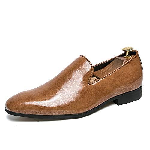 DINGGUANGHE-SHOES Lackleder Herren Business Oxford Casual Einfache Klassische Britische Mode Patent Keine verblassenden Leder Formelle Schuhe Abendgarderobe Dress Schuhe (Color : Gelb, Größe : 39 EU) Patent Leder