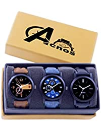 Acnos Brown Blue and Black Analog Watches for Men Pack of - 3(l-01-02-05)