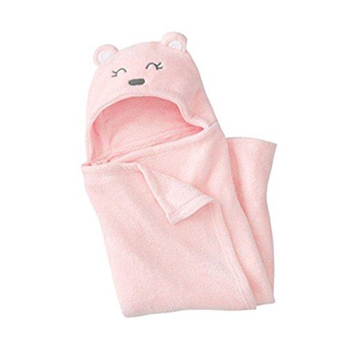 hibote Asciugamano Bear per Bambini EXTRA SOFFICE - Asciugamano da Bagno 100% in Cotone - Perfetto per la Doccia dei Bambini - Per Neonati o Bambini Piccoli 72cm/Orso rosa