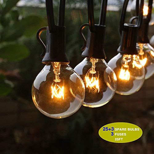 ACCEWIT G40 Lichterkette für Außenlichter, wasserdicht, IP44, 7,62 m / 25 m lang, 28 Glühlampen, 220-240 V, ideal für Terrasse/Café / Hochzeit/Pergola / Urlaub [Energieeffizienzklasse A+]