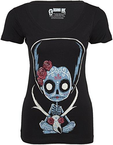 Akumu Ink PRONGHORN CATRINA Scoop Sugar Skull Skeleton Tee SHIRT Gothic Schwarz mit buntem Motiv