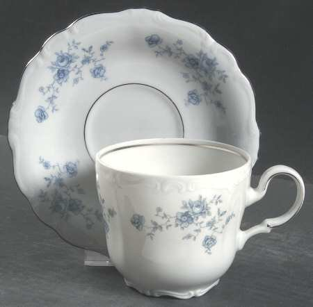 Johann Haviland Blue Garland Footed Cup and Saucer Set by Johann Haviland Johann Haviland Blue Garland Cup