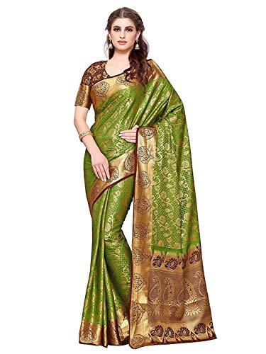 Women's Silk Saree (4164-260-2D-OLV-CHOC_Green_ Free Size) Olive Green Silk Saree