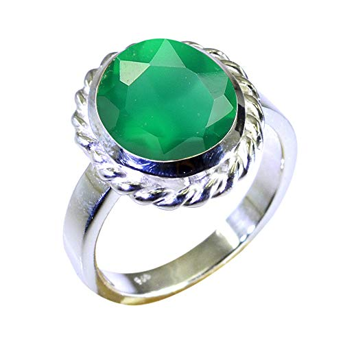 Caratyogi Unisex Herren Damen - Sterling-Silber 925 Oval natürlicher, grüner Onyx