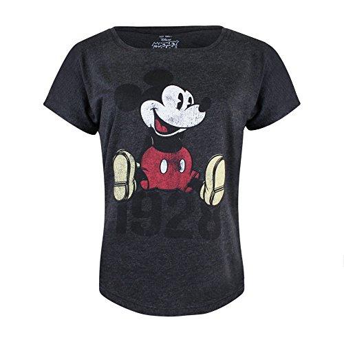 Disney Damen Mickey Year T-Shirt, Grau (Dark Heather DKH), 38(Hersteller Größe: Medium) (Disney Damen T-shirts)