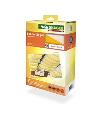 Windhager Sonnensegel für Seilspanntechnik Sonnenschutz Segel 420 x 140 cm, ideal für Pergola oder...