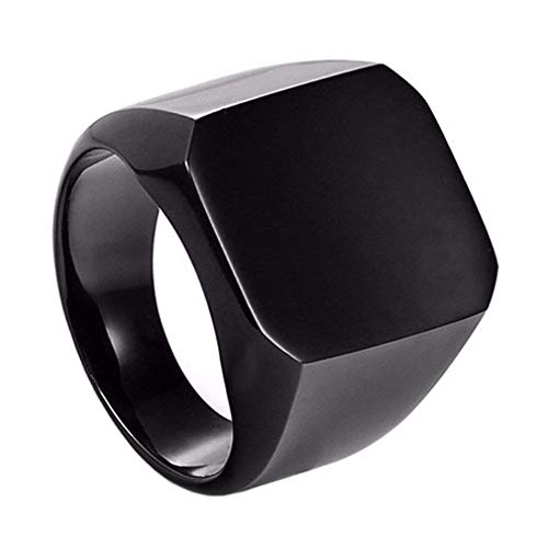 BigMartTM Solid Polished Stainless Steel Square Black Rings, Cool Casual Stainless Steel Ring for Men for Men Boys Fancy Rings Valentine Gift for Boyfriend (Solid Black Ring PACK OF 1)