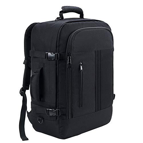 KALIDI Handgepäck Herren Reiserucksack großer Reisekabine Reisetasch für das Flugzeug 55 x 40 x 20 cm mit 44 L zugelassener für IATA-Flug/EasyJet/Ryanair(Schwarz)