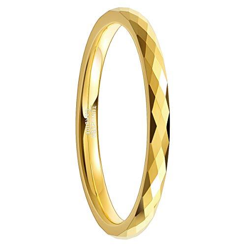 Natur Fashion - Mädchen Damen Ring Gold 2mm mit Facetten Design aus Wolframcarbid für Party Hochzeit Trauung Verlobung Valentinstag Größe 52 (16,6)