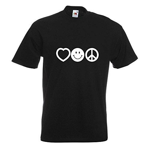 KIWISTAR - Love Happy Peace - Liebe Glück Frieden T-Shirt in 15 verschiedenen Farben - Herren Funshirt bedruckt Design Sprüche Spruch Motive Oberteil Baumwolle Print Größe S M L XL XXL Schwarz