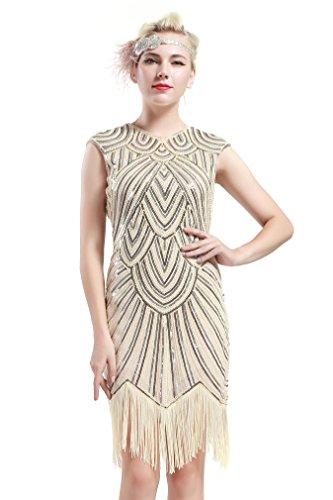 Babeyond Damen Kleid voller Pailletten 20er Stil Runder Ausschnitt Inspiriert von Great Gatsby Kostüm Kleid (Größe S / UK8-10 / EU36-38, Beige)