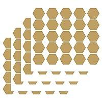 JURUOXIN Honeycomb Wall Decals Vinyl Hexagon Pattern Sticker for Kids Boy Girl Living Room Bedroom Art Decoration Home Decor Nursery YMX30 (Matte Gold, 5CMx100pcs)